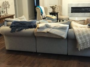 POttery Barn upholstered 4 piece with ottoman, down couch luxury with performance fabric!! for Sale in Boston, MA