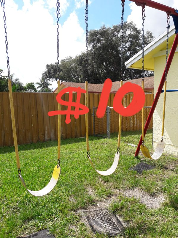 3 quality solid pre-owned chain link swing swings fair condition ...