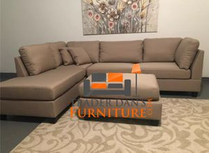 Brand New Sand Linen Sectional Sofa Couch + Ottoman for Sale in Silver Spring, MD