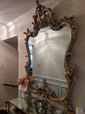 Antique floral Italian or French Mirror Rococo Gold for Sale in Annandale, VA