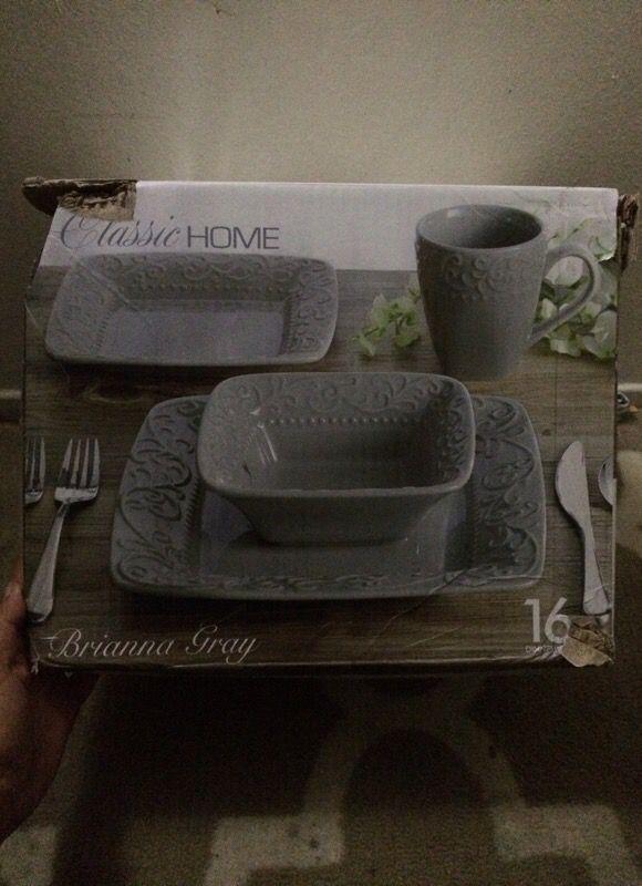 Classic Home Brianna Grey Dish Set