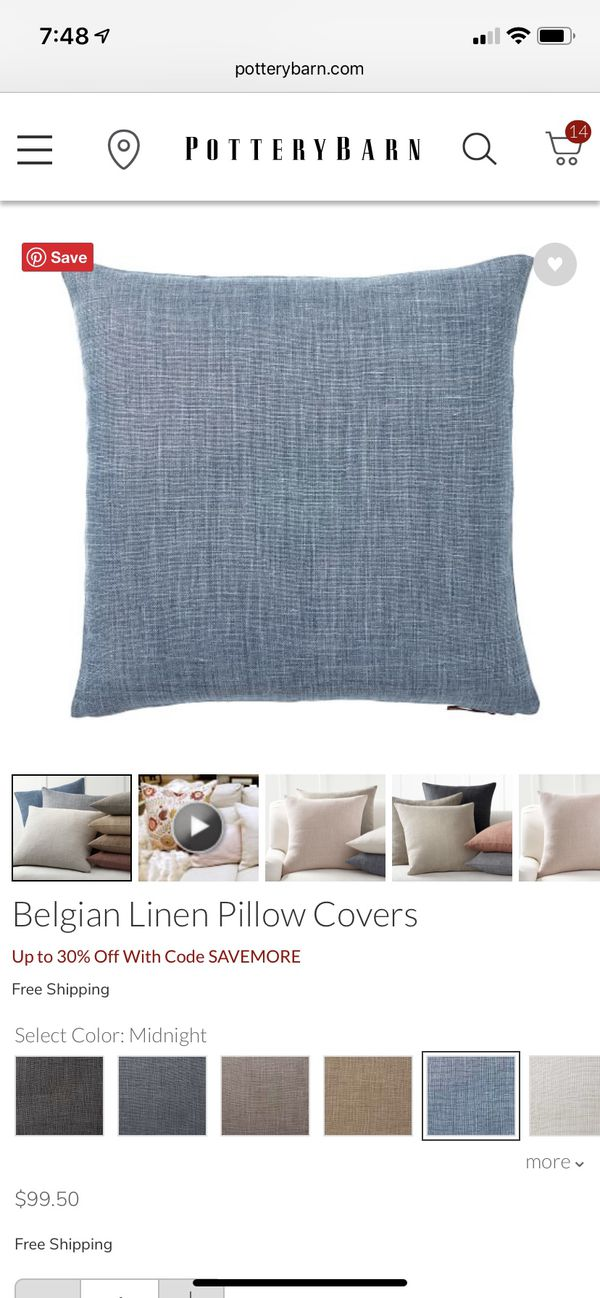 Pottery Barn Belgian Linen Pillow Covers Midnight Color