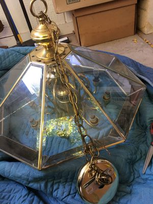 Beautiful brass and glass chandelier for Sale in Rancho Mirage, CA