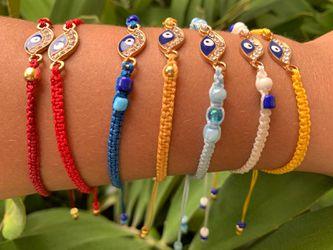 Handmade Macrame Bracelets,. Evil eye. Adjustable. Good Luck. Ojo Turcos Thumbnail