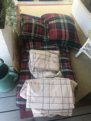 Almost new! Slept on 3 times. Ralph Lauren sheets, pillow covers, comforters, decorativepillows reverse able for Sale in Shreveport, LA