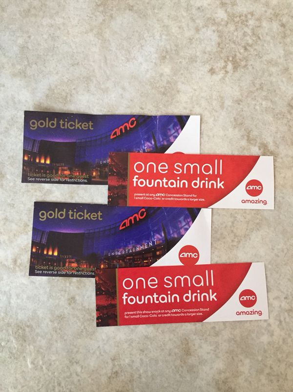 2 AMC Gold Tickets Drinks 3rd Bonus Drink Free For Sale In