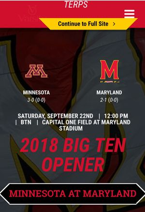 2 tickets plus parking pass to university of Maryland vs. minnesota for Sale in undefined
