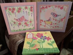 Photo 3 square canvas decorations for girls room birds flowers
