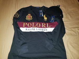 Photo Ralph Lauren Black Polo Crest T MEDIUM With Black Polo beanie.