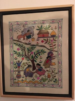 Ivory Embroidered Silk Tapestry for Sale in Arlington, VA