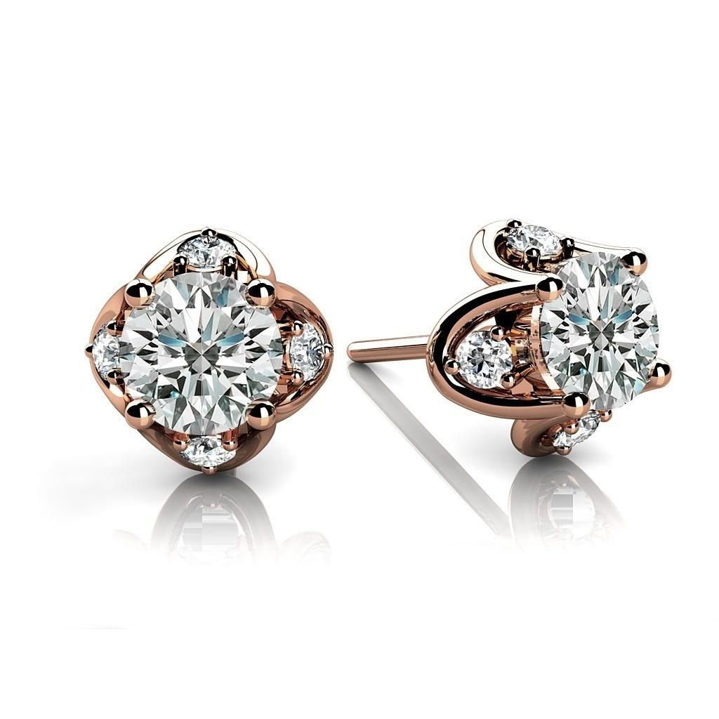 Round Cut Natural Diamond Tulip Studs Earrings In 18k Rose Gold (0.56 Carat ,F-G SI2)