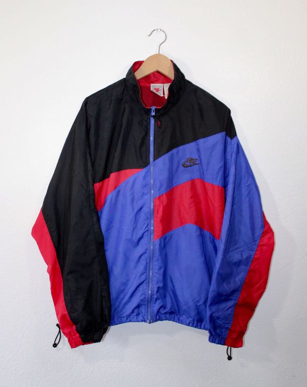 2f70a8d8f6 Vintage 80s 90s Nike Air Swoosh Windbreaker Jacket Size Large Red Black Blue
