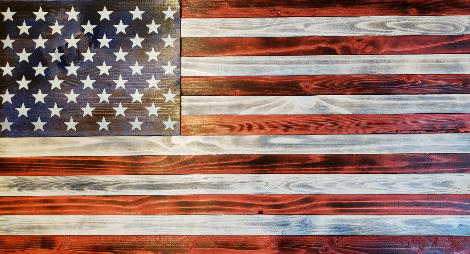 Wood Burnt American Flag