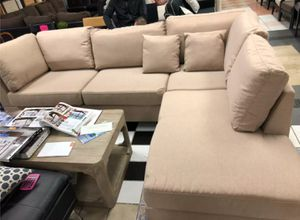 Brand New Sand Color Linen Sectional Sofa Couch + Ottoman for Sale in Silver Spring, MD