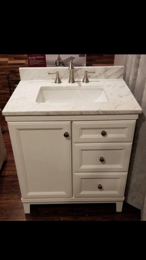 """$200 31"""" Bathroom vanity white marble top brushed nickel ..."""