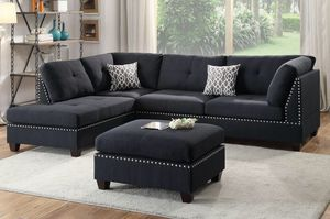 3 pcs SECTIONAL SOFA BLACK FABRIC for Sale in Hialeah, FL