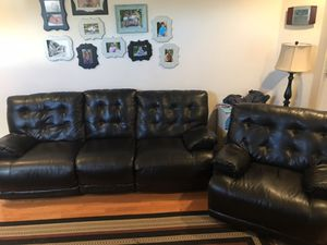 Reclinable Leather Couch And Leather Chair for Sale in Manassas, VA