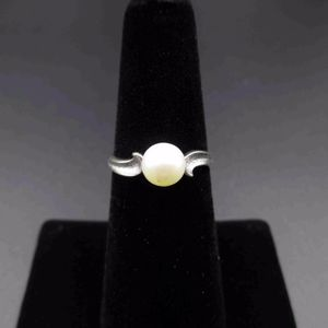 Vintage Estate Size 6 10k Solid White Gold Solitaire Pearl Band Ring Antique for Sale in Lynnwood, WA