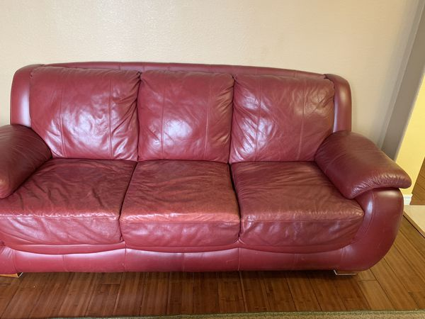 Red/ burgundy leather sofa, chair and attom for Sale in Wylie, TX ...