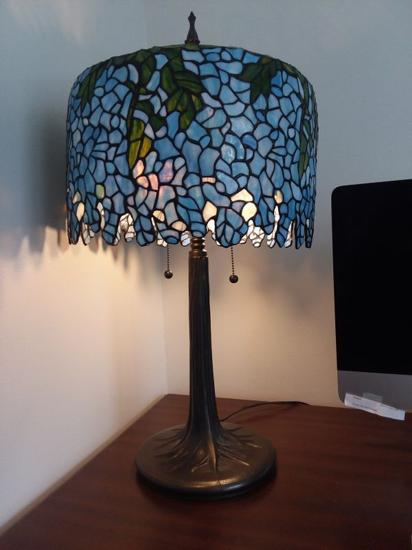 Stained glass tiffany inspired wisteria table lamp with tree trunk stained glass tiffany inspired wisteria table lamp with tree trunk base household in fort wayne in offerup aloadofball Choice Image