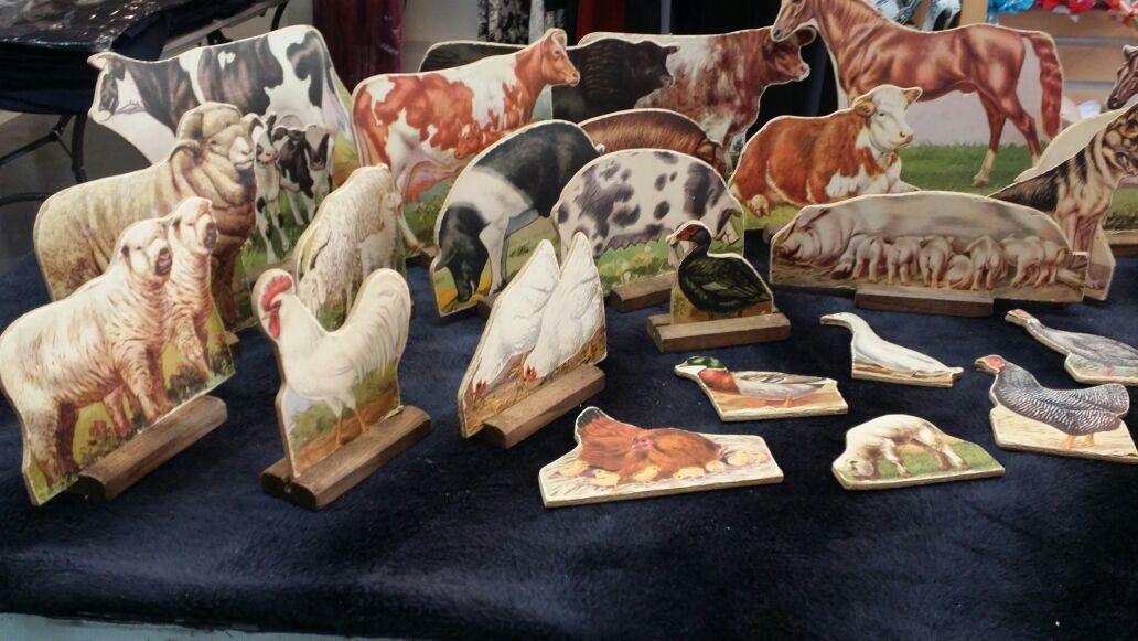 Vintage card board Farm Animals