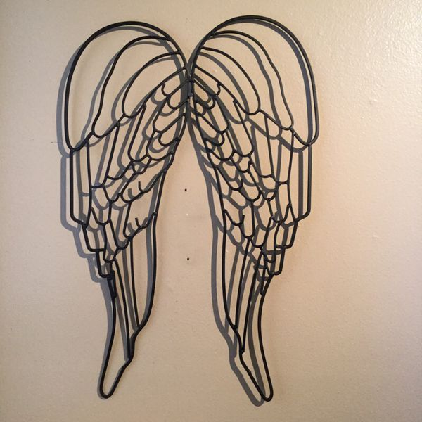 Large Wrought Iron Angel Wing Wall Sculpture For Sale In