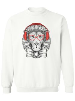 Smartprints Hipster Lion With Glasses. Sweatshirt Women's -Image by Shutterstock White Size 5XL Thumbnail