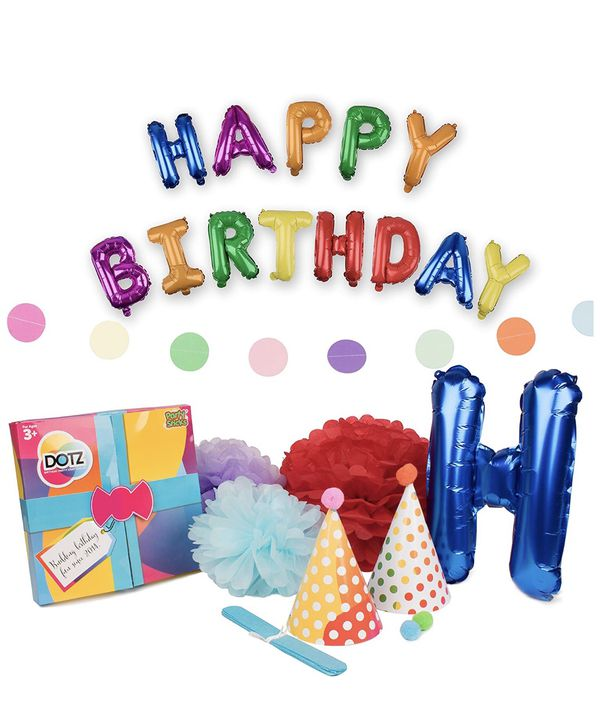 Happy Birthday Party Decorations 21pk Retro Rainbow Polka Dot Supplies For Adults Or Kids DOTZ Hats Poms And Balloon Banners