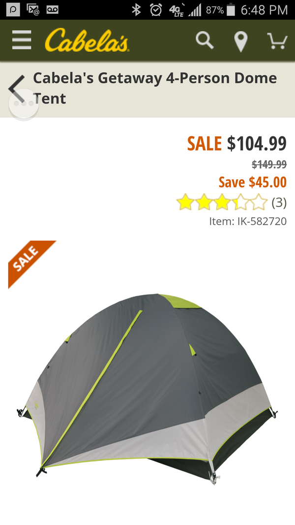 CABELAS Getaway 4 person Tent NEW for Sale in Fort Worth, TX - OfferUp