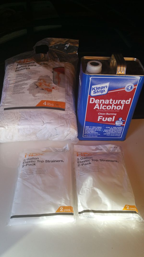 Hdx painters rags,denatured alcohol,5 gallon top strainers for Sale in  Hawthorne, CA - OfferUp