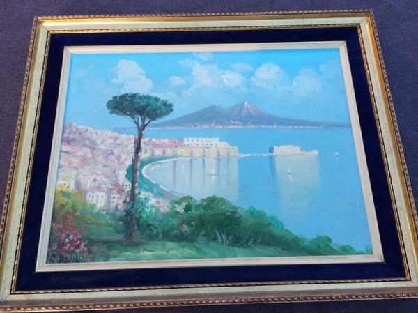 ORIGINAL Mid Century OIL ON CANVAS A View Of Naples Artist Signed