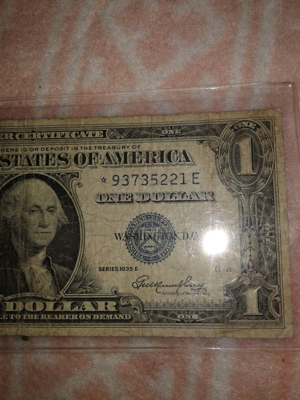 One Dollar Bill Silver Certificate Star Note No Motto Series 1935 Us
