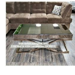 Brass Color Mirrored Living Room Coffee Table Modern Glam Thumbnail