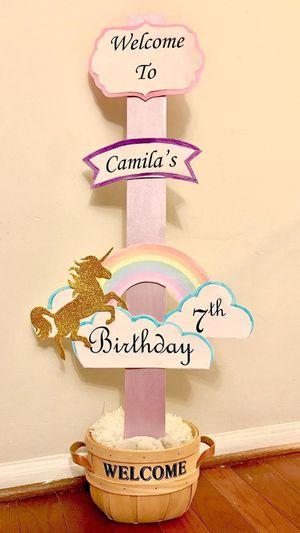 Unicorn birthday/baby shower sign for Sale in Springfield, VA