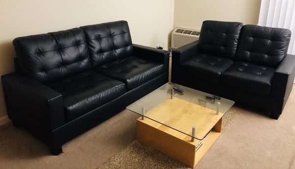 Marvelous 3 2 Faux Leather Black Almost New Black Sofa Set For Sale In Onthecornerstone Fun Painted Chair Ideas Images Onthecornerstoneorg