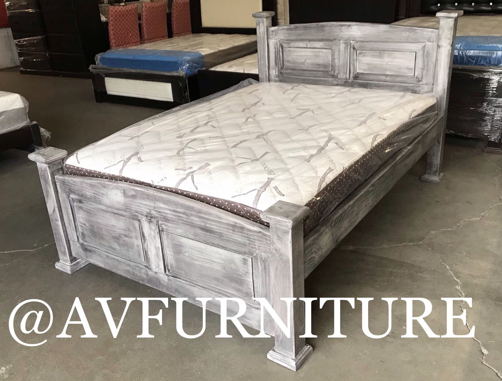 Solid Wood Full Bed And Mattress