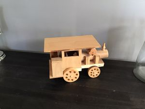 Photo Cute Homemade Wooden Toy Train Engine