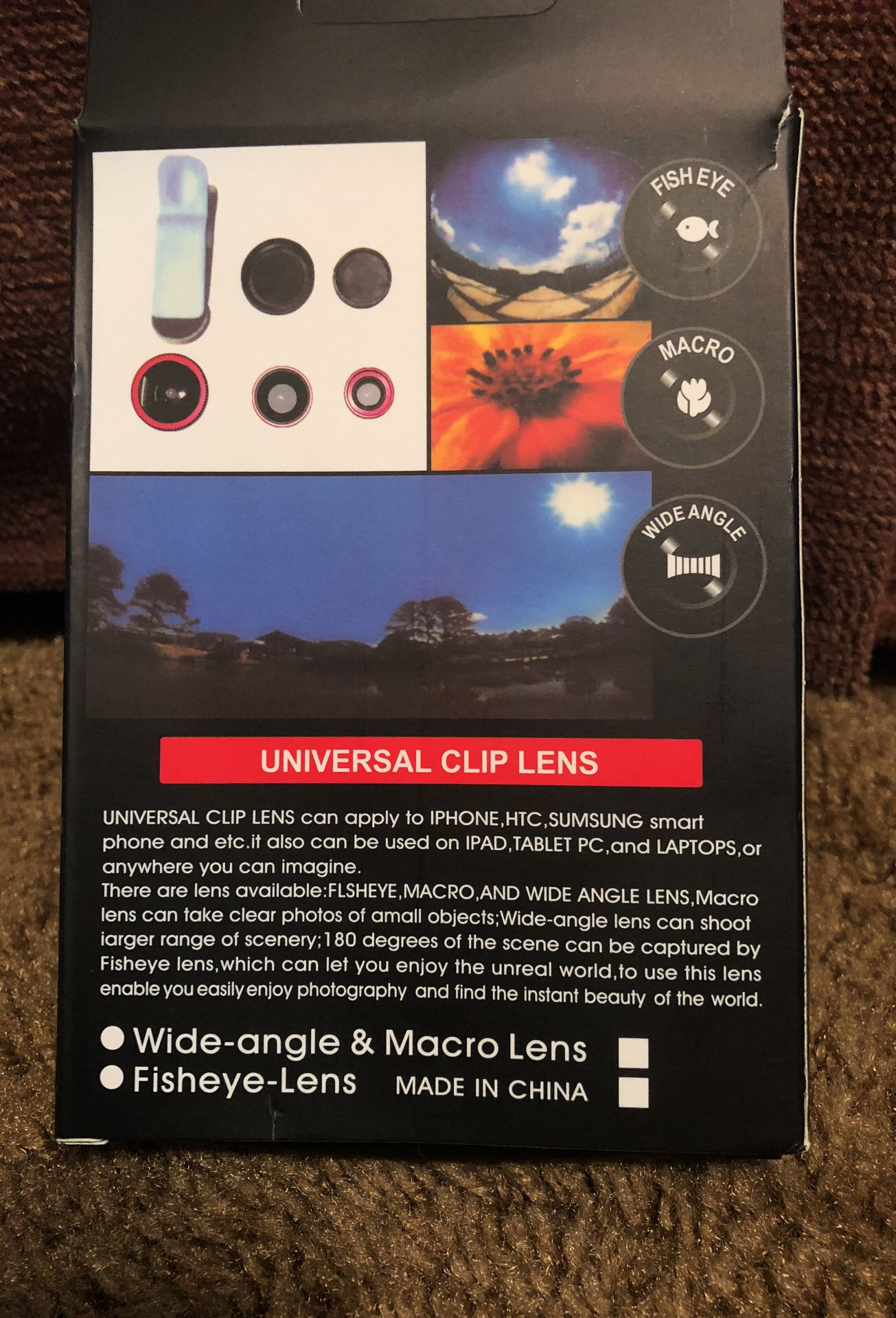 Universal clip lens can be used on I phones , htc , Samsung smart phone and etc , it also can be used on I pad tablet , and laptops ...