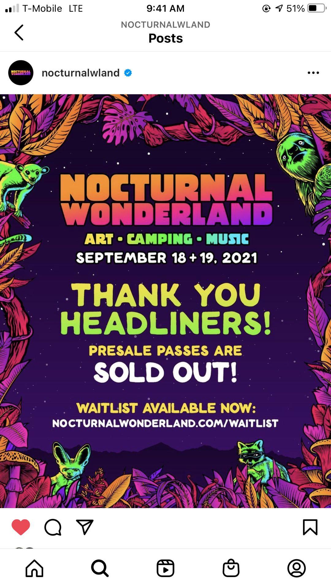 Nocturnal wonderland tickets