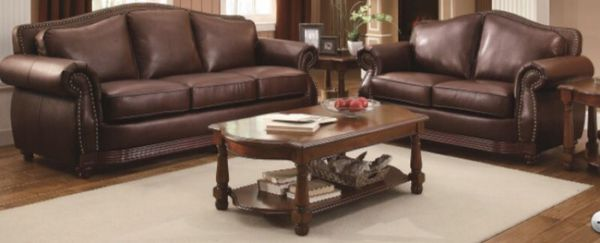 Beautiful Brown Bonded Leather Sofa & Love for Sale in Houston, TX ...