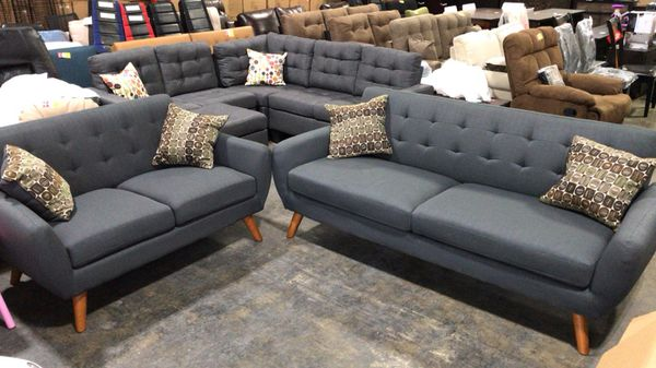 Outstanding Bobkona Sonya Linen Like Polyfabric 2 Piece Sofa And Loveseat Set For Sale In Hilliard Oh Offerup Theyellowbook Wood Chair Design Ideas Theyellowbookinfo