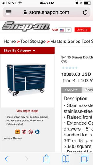 """Snap On 54"""" 10 drawer tool box with stainless top for Sale in Wenatchee, WA"""