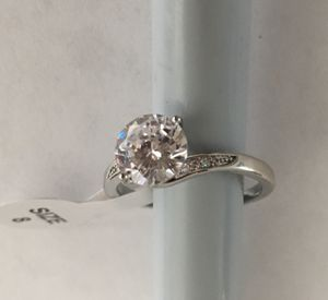 Photo Real silver 925 and white sapphire stones woman ring size # 8