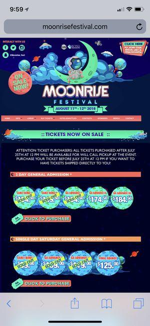 Moonrise Festival Tickets 2-day GA for Sale in Springfield, VA