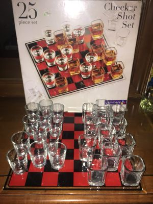 25 piece checkers shot glass and glass board set for Sale in Gaithersburg, MD