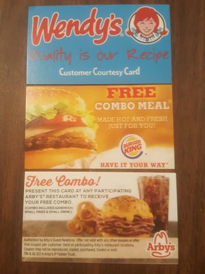 �Burger King, Wendy's, & Arby's Combo Meal Certificates, ($9 value)No Exp. Date� for Sale in Centreville, VA