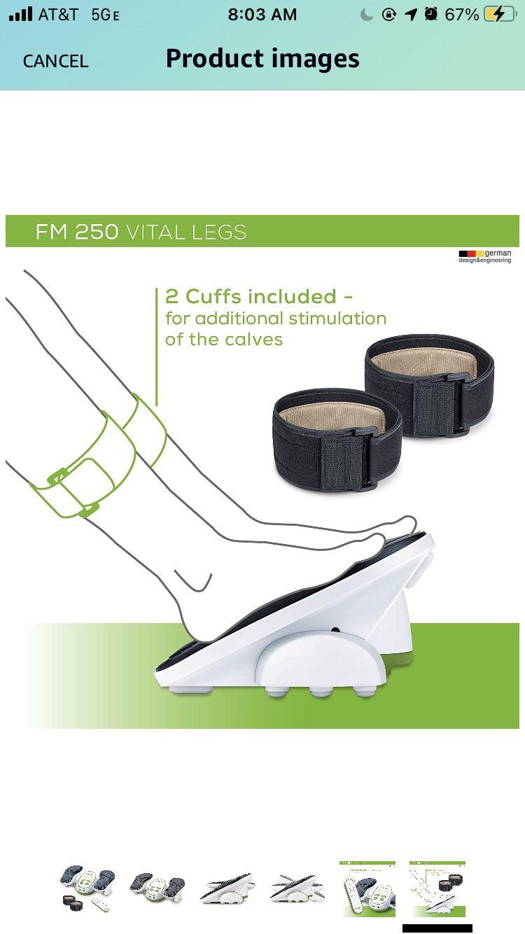 Beurer Vital Legs EMS Circulation Stimulator, FM250   Revitalizing Electrostimulation - Impulse Massage   Improve Blood Circulation in Legs While Sitt