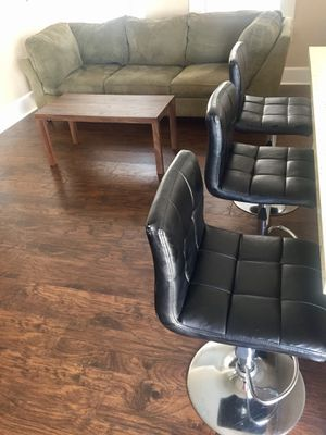 Set of 3 silver and black bar stools. for Sale in Saint Cloud, FL