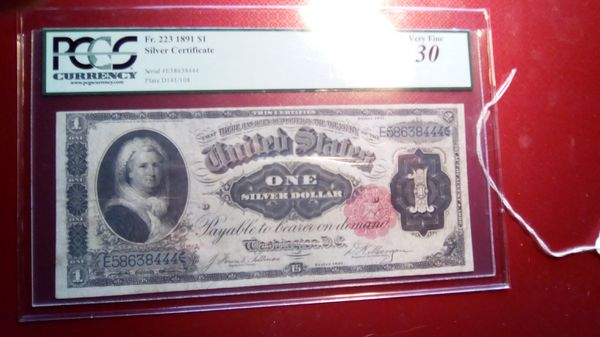1891 Martha Washington one dollar silver certificate. for Sale in ...