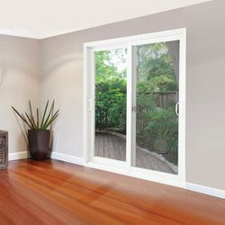 29.75 in. x 76.75 in. White Reversible Patio Screen Door with Handles and Latch Thumbnail